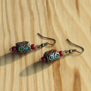 earrings for women, copper beads, stone beads
